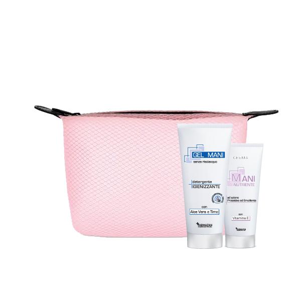 Gel Igienizzante e Crema Mani Farmazan in kit con pochette rosa omaggio