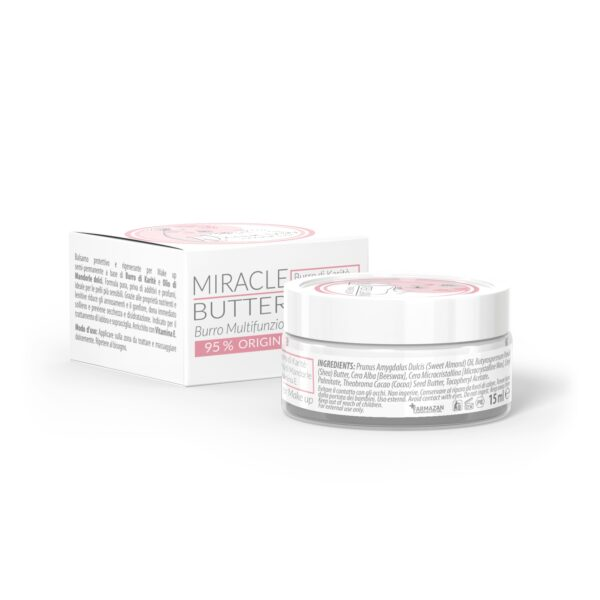 Crema post trucco permanente Miracle Butter Pure Formula. Retro del vasetto da 15 ml