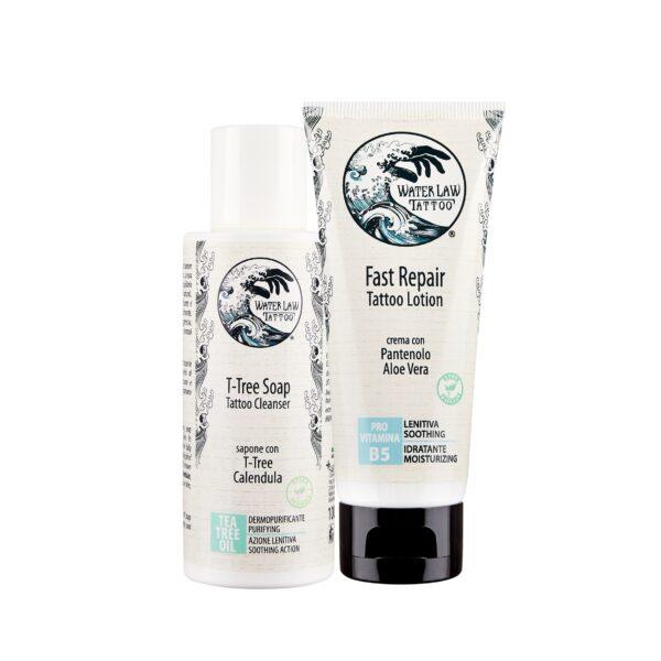 Kit prodotti post tatuaggio Water Law Tattoo con crema lenitiva e sapone