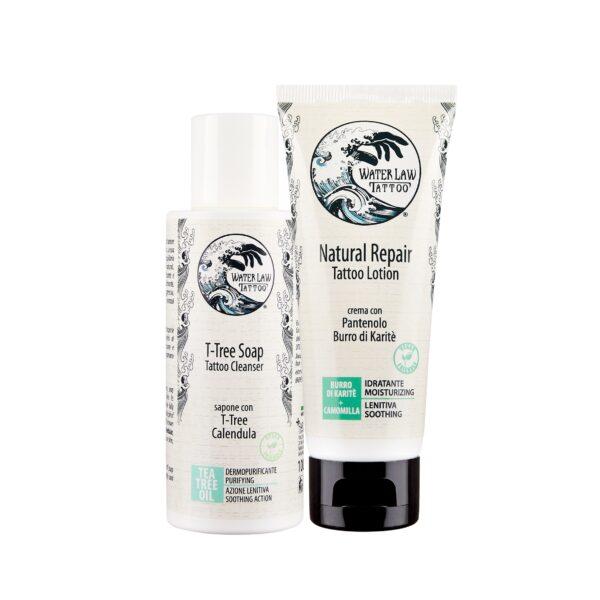 Kit di prodotti naturali post tatuaggio Water Law Tattoo con crema lenitiva vegan e sapone
