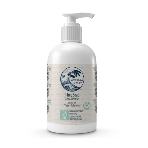 Sapone specifico per tatuaggi T-Tree Soap di Water Law Tattoo. Flacone con dispenser da 250 ml